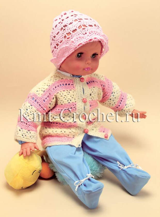 Жакет и шапочка для малыша на рост 68-74 см, вязанные крючком.