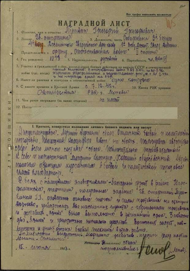 Партизан и разведчик Григорий Пушкин, правнук великого поэта.