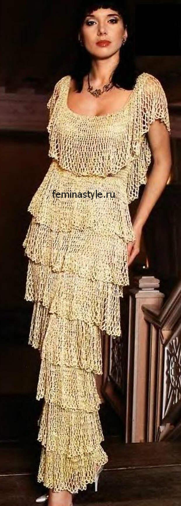 Золотистое платье связанное крючком