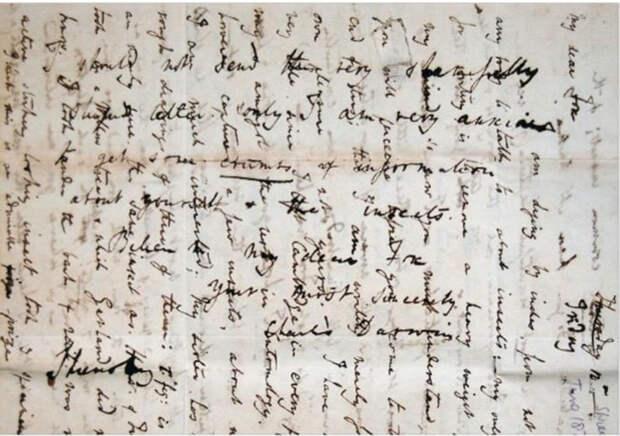 Письмо, написанное Чарльзом Дарвином
