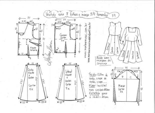Выкройка шелкового платья в горох