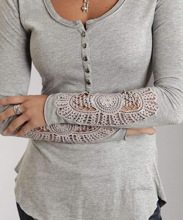 Наивный декор одежды вязаными элементами