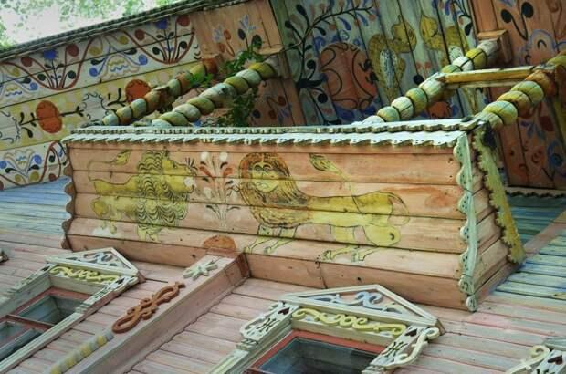 Львы в росписях домов русского севера.