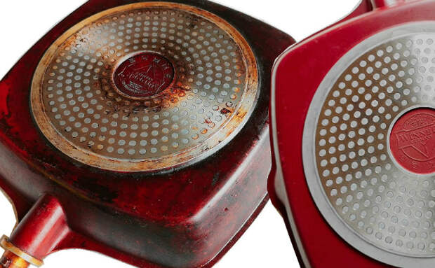 Чистим сковородку от нагара нагреванием: застарелый жир сходит с обычным очистителем