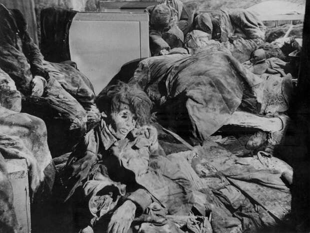 "Dead bodies are pictured inside a so-called ""Bombenkeller"" in the John street in this undated handout photo taken after 1945 in Dresden"