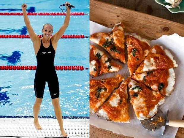 У четырехкратной олимпийской чемпионки по плаванию Даны Волмер есть одна проблема: с одной стороны, сжигая тысячи калорий в день, ей нужно потреблять много углеводов, с другой — у нее аллергия на клейковину, которая содержится в ржи, пшенице и ячмене, и является источником углеводов. Но выход был найден — специальная пицца без клейковины.