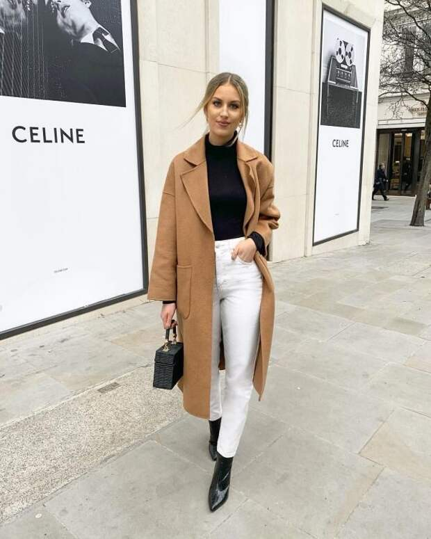 С чем носить длинное пальто: фото модных образов