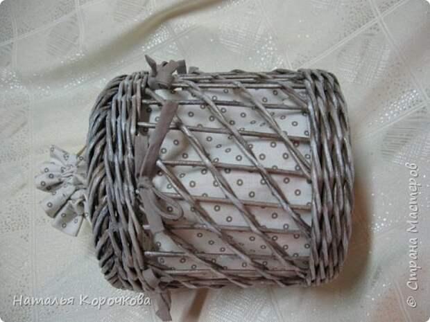 Поделка изделие Плетение Шитьё Корзинка для сушеных трав и еще кое-что Салфетки Ткань Трубочки бумажные фото 5