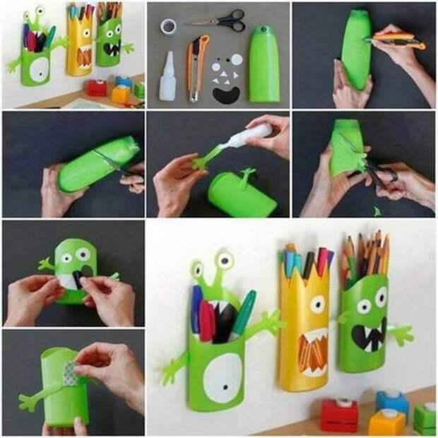 Подставка для карандашей и ручек  бутылка, пластик