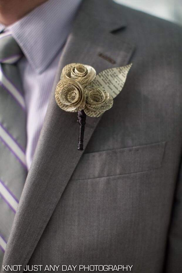 paper flower boutonniere made from vintage book by regularfrills, $12.00