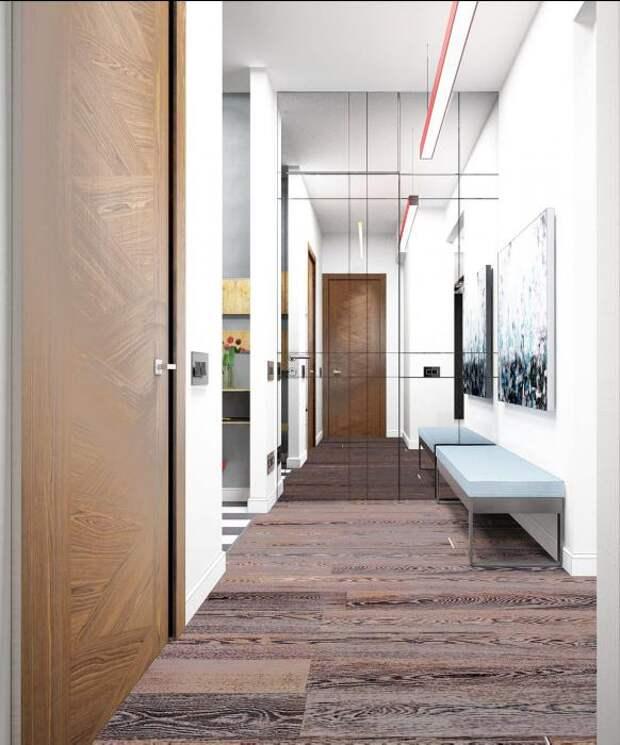 Холл зеркальная дверь