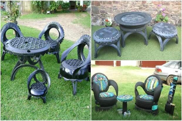 Садовая мебель из старых шин и покрышек. \ Фото: pinterest.com.