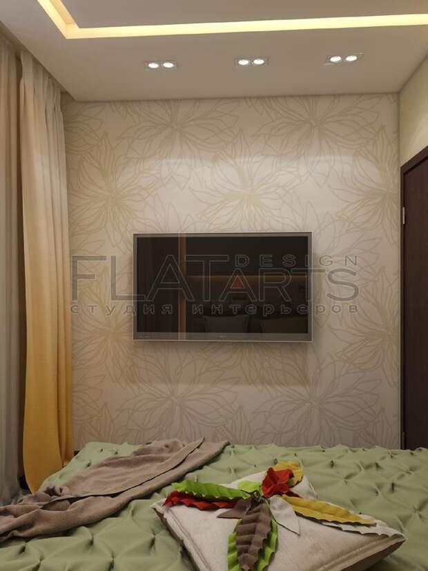 Дизайн-проект двухкомнатной квартиры, интерьер спальни