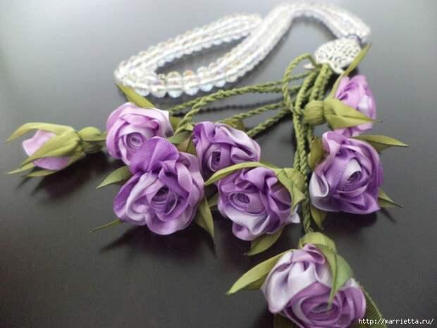 Миниатюрные цветы из ленточек. Мастер-классы (13) (700x525, 242Kb)