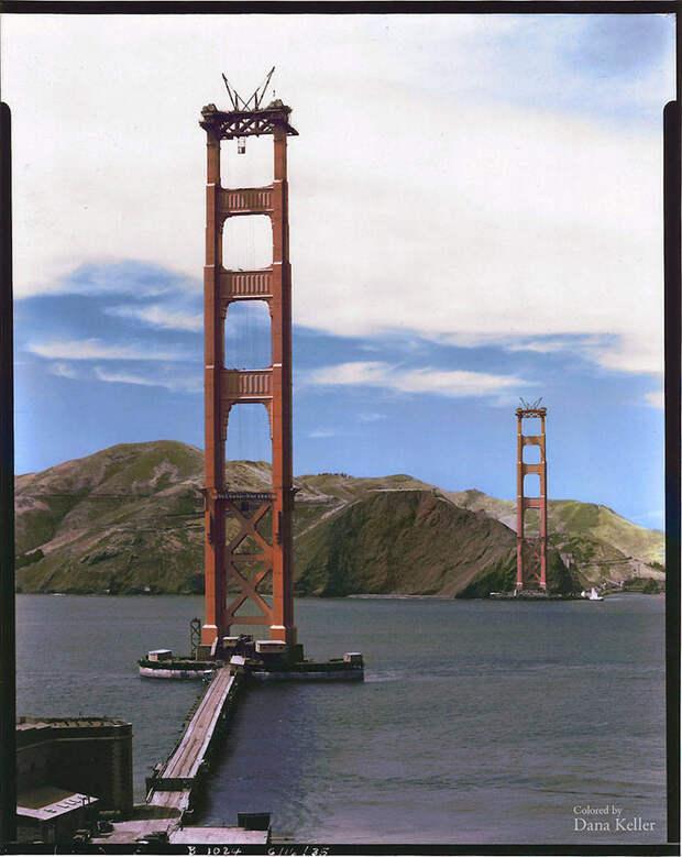 Строительство моста Золотые Ворота в Сан-Франциско, 1935 год.