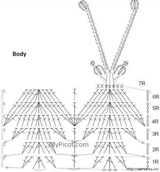 Схема БАБОЧКИ крючком (3) (600x645, 161Kb)
