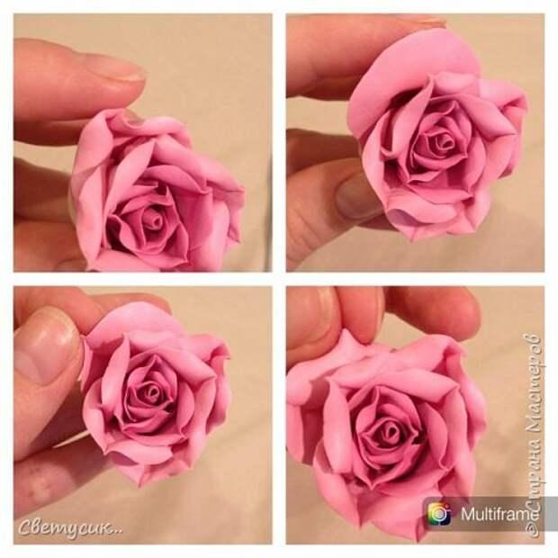 Мастер-класс Флористика искусственная Лепка МК розы из ХФ как и обещала Фарфор холодный фото 19