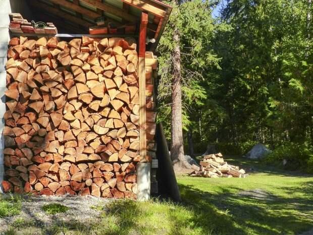 Можно хранить дрова и под навесом