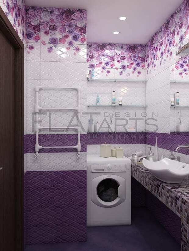 Дизайн-проект двухкомнатной квартиры, интерьер ванной комнаты,   плитка с цветочным узором