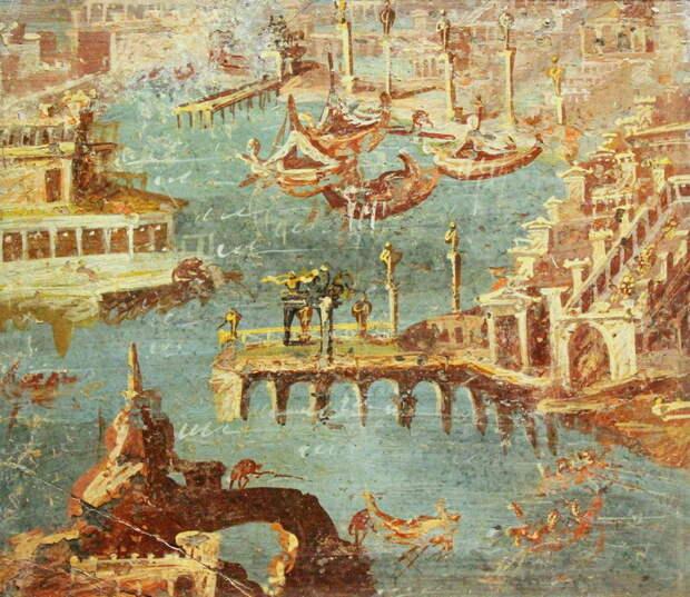 Римская гавань на фреске из Помпей. Национальный музей археологии, Неаполь - Гражданские войны: Октавиан против Секста Помпея | Warspot.ru
