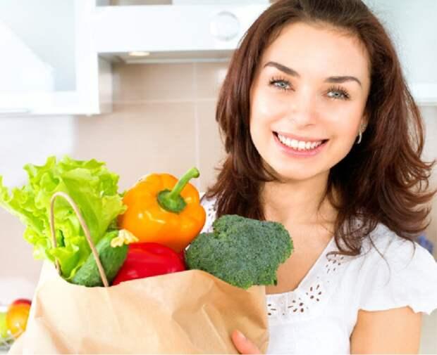 девушка с продуктами