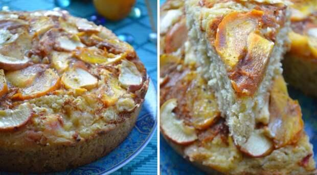 Яблочный пирог с хурмой и овсяными хлопьями