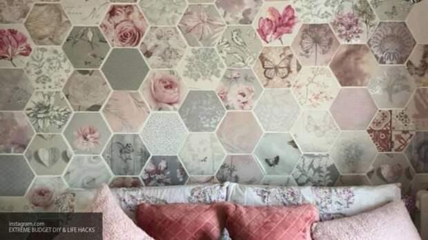 Бережливая американка создала шедевр на стене из кусочков обоев