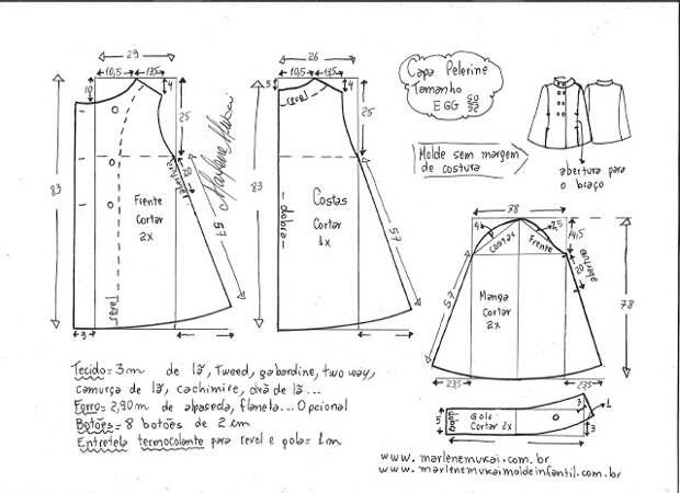 Выкройка модной и стильной пелерины
