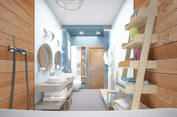 Ванная комната в морском стиле, тик в ванной