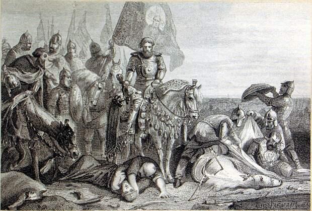 Дмитрий Донской, сопровождаемый князьями и боярами, объезжает Куликово поле после битвы 8 сентября 1380 года.  / гравюра предположительно Бориса Чорикова (1802–1866)