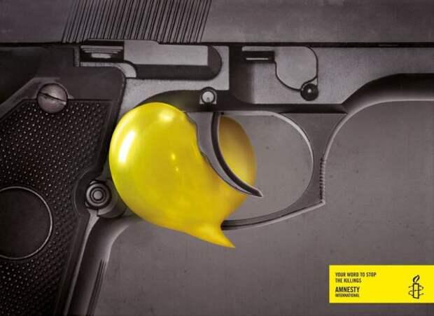 Your word, Gun, Amnesty International, Grey, Istanbul, Amnesty International, Печатная реклама