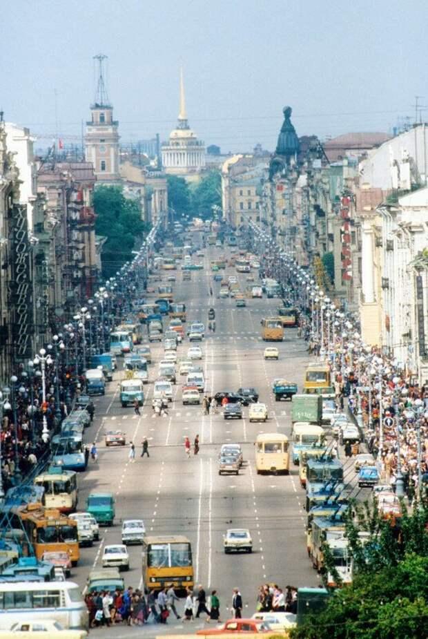 Трафик на Невском проспекте, 1984 год, Ленинград история, ретро, фото, это интересно