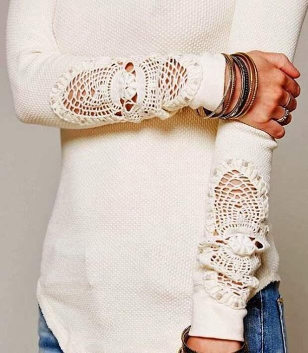 Наивный декор одежды вязаными элементами (подборка)