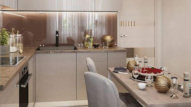Интерьер небольшой угловой современной кухни с обеденной зоной.