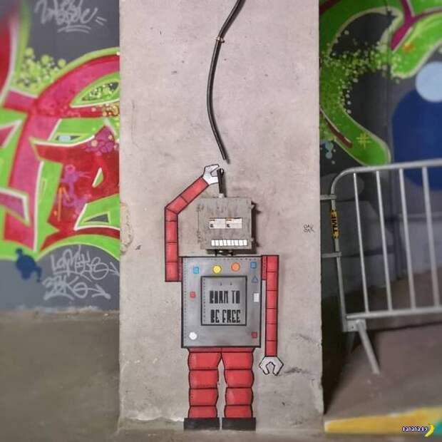 Стрит-арт от oakoak