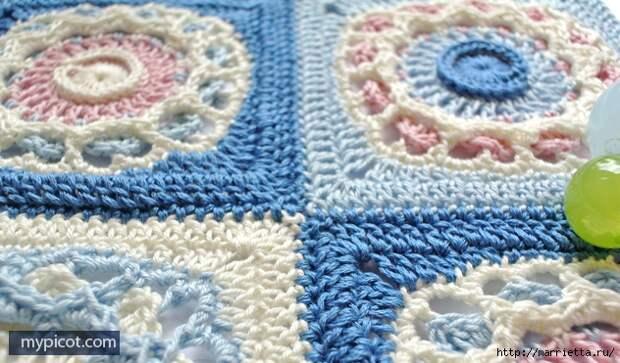 Красивый узор крючком для вязания пледа или покрывала (17) (632x371, 245Kb)