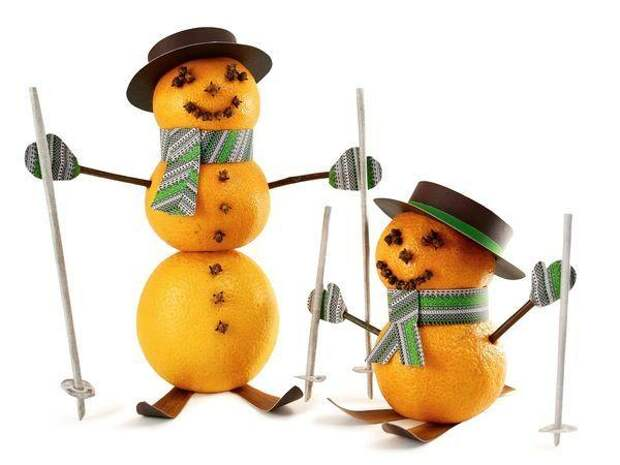 Снеговички из мандаринов