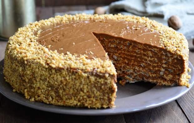 Вафельный торт со СГУЩЕНКОЙ и ГРЕЦКИМИ орехами без выпечки