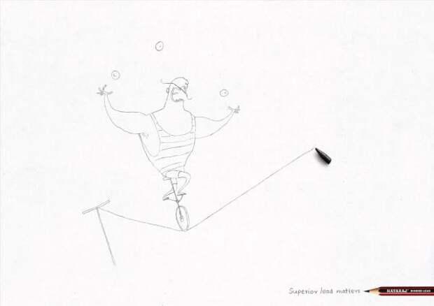 Nataraj Pencils: Tight Rope, Nataraj Pencils, Ogilvy, Печатная реклама