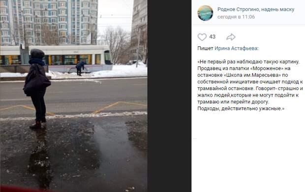 Уборку снега на остановке в Строгине взяла на себя мороженщица