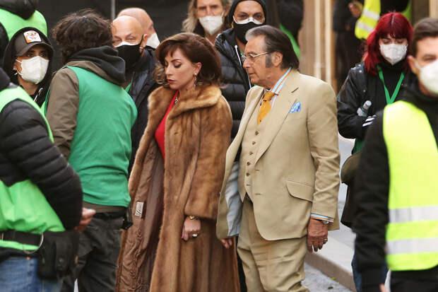 Леди Гага иАль Пачино на съёмках фильма Гуччи