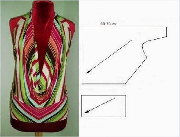Выкройка блузки с открытой спиной