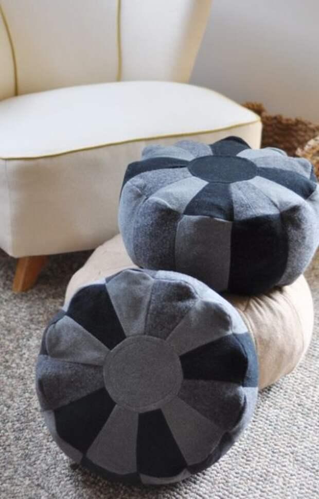 8. Тёплые пуфы всегда можно спрятать на сезонное хранение под кровать