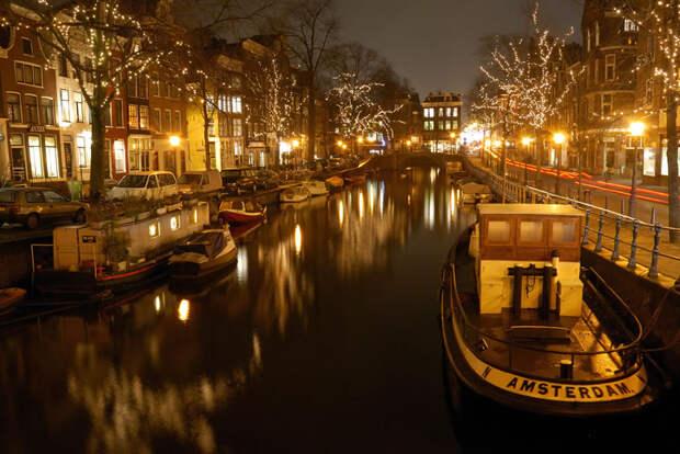 Каналы Амстердама ночью - Spiegelgracht