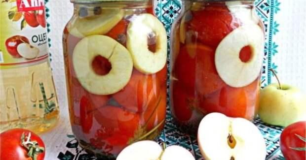 Помидорчики с яблоками на зиму. Яблоки отлично заменят уксус 2