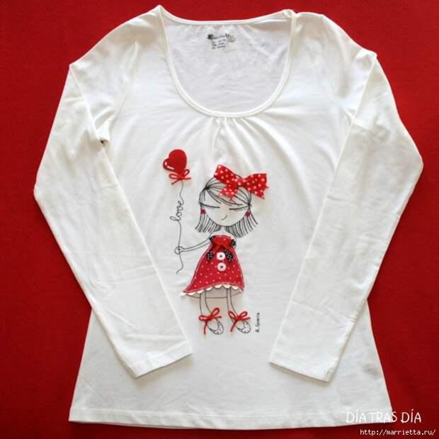 Аппликация с вышивкой на детских футболках (37) (700x699, 265Kb)