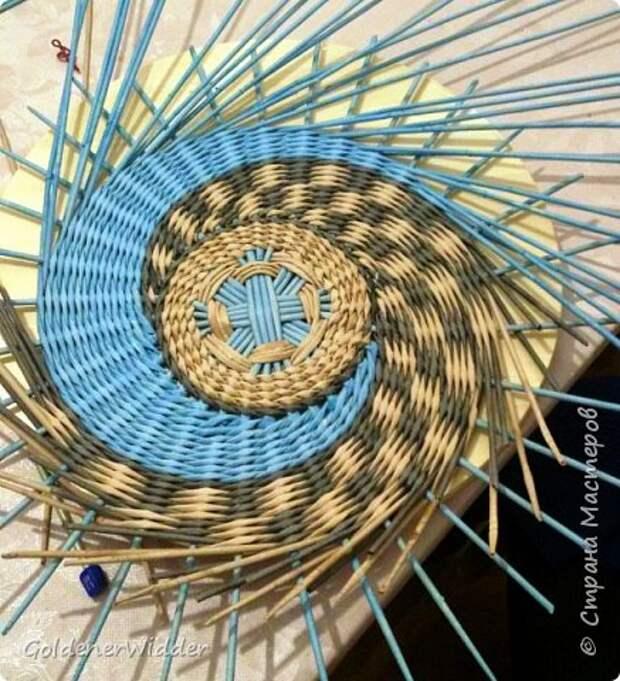 Мастер-класс Плетение Панно 40 см Спиральное плетение Бумага газетная Трубочки бумажные фото 20