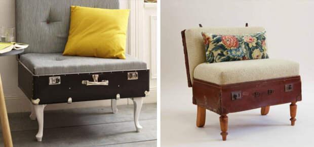 Пуфы из старых чемоданов. \ Фото: google.com.
