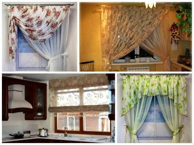 Варианты оформления окна в маленькой кухне.