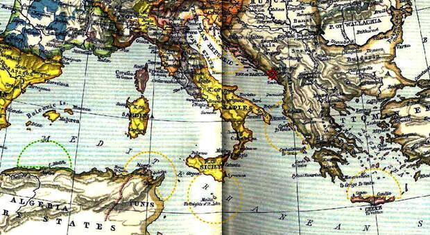 Европа в государственных границах 1560 года и Средиземное море. Отмечены некоторые военно-морские базы с принадлежностью на 1539 год с отложенным от них радиусом автономного действия типичной галеры (согласно Дотсону). Пунктирные дуги жёлтого цвета — Лига, зелёного — Султанат. Выделен Кастельнуово вместе с Которским заливом - Война Священной лиги в 1539 году: тучи над Кастельнуово | Warspot.ru